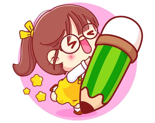 Leuk meisje met potlood briefpapier cartoon karakter illustratie Gratis Vector