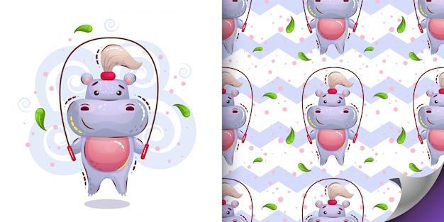 Leuk meisje nijlpaard patroon en karakter Premium Vector