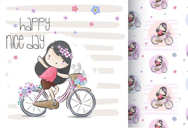 Leuk meisje op een fiets met naadloos patroon Premium Vector