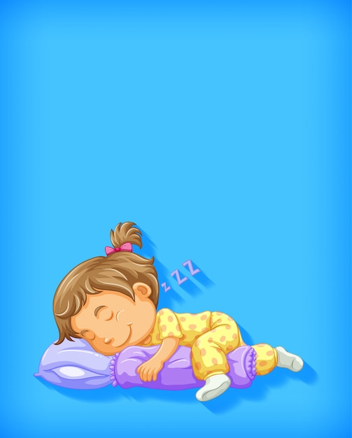 Leuk meisje slapen stripfiguur geïsoleerd Gratis Vector