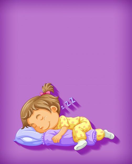 Leuk meisje slapende stripfiguur Gratis Vector