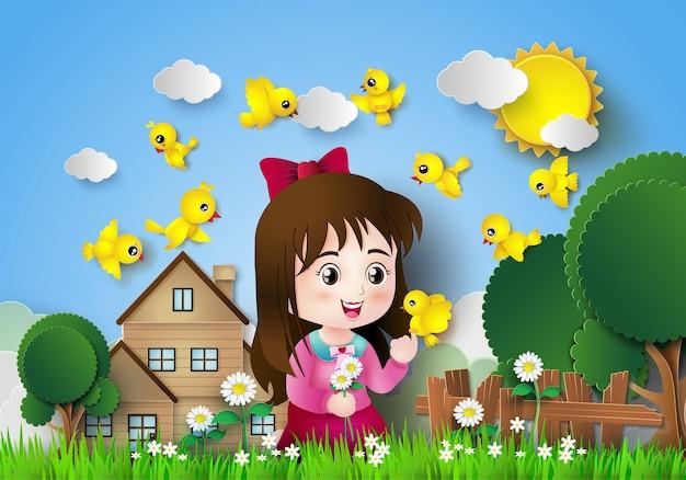 Leuk meisje, zittend in een bloementuin met veel vogels. Premium Vector