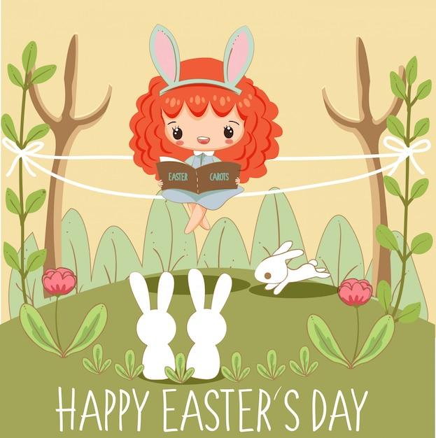 Leuk meisjes die boek voor konijntjes voor de kaart van de dag van pasen lezen Premium Vector