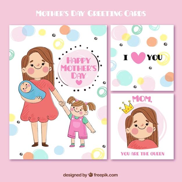 Leuk moederdag wenskaarten in de hand getekende stijl Gratis Vector
