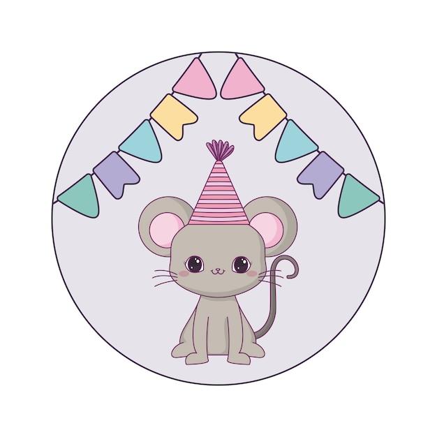 Leuk muisdier met hoedenpartij en slingers het hangen Premium Vector