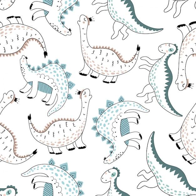 Leuk naadloos patroon met dinosaurussen. Premium Vector