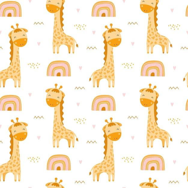 Leuk naadloos patroon met giraffen en regenbogen Premium Vector