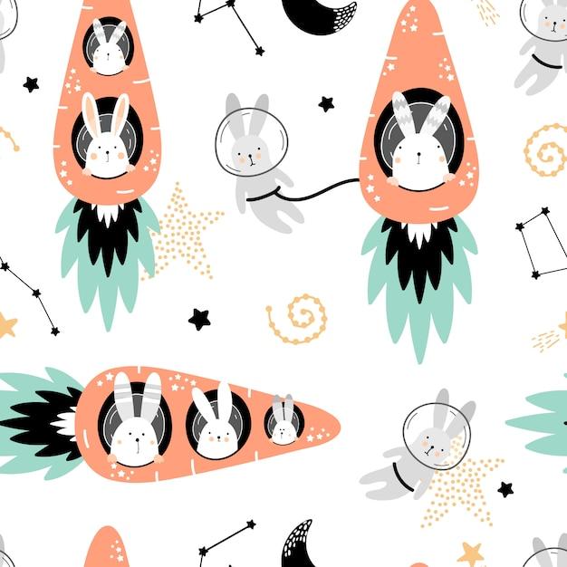 Leuk naadloos patroon met hazen op wortelenraketten Premium Vector