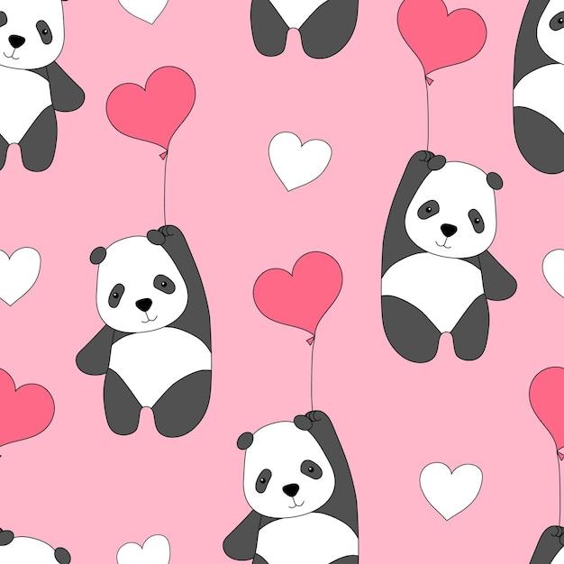 Leuk naadloos patroon met panda's op ballonnen Premium Vector