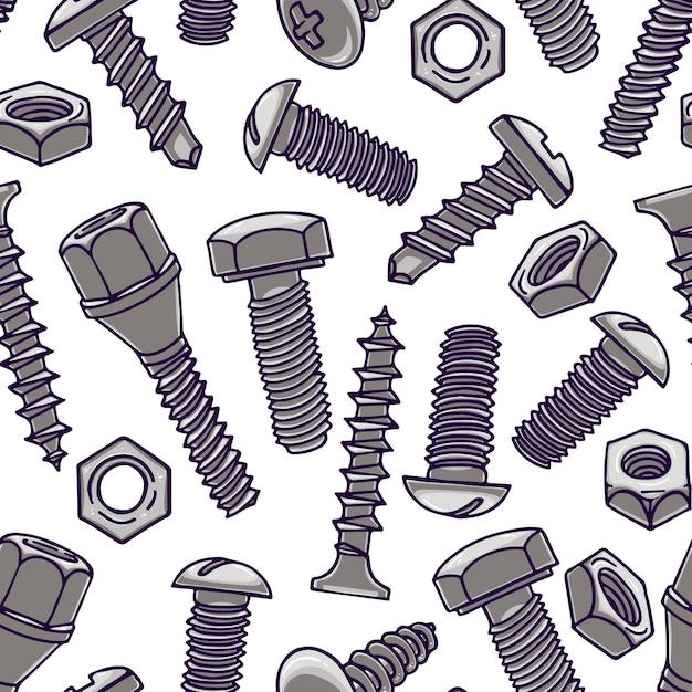 Leuk naadloos patroon met schroeven en moeren. handgetekende illustratie Premium Vector