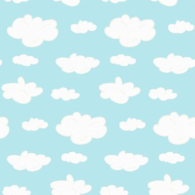 Leuk naadloos wolkenpatroon Premium Vector