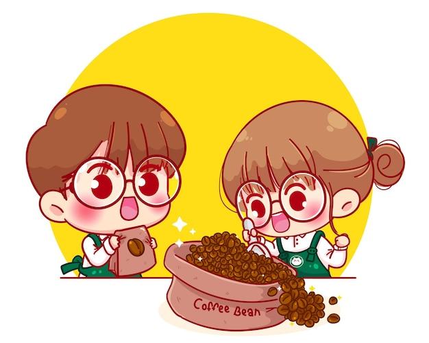 Leuk paar barista in de illustratie van het de koffiebonenbeeldverhaal van de schortlepel Gratis Vector