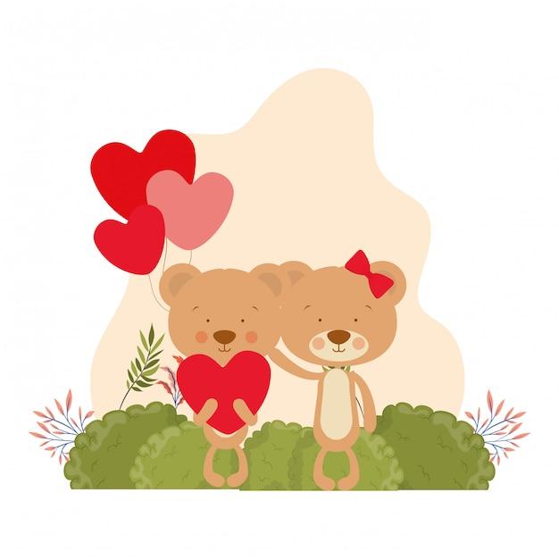 Leuk paar beren verliefd Premium Vector