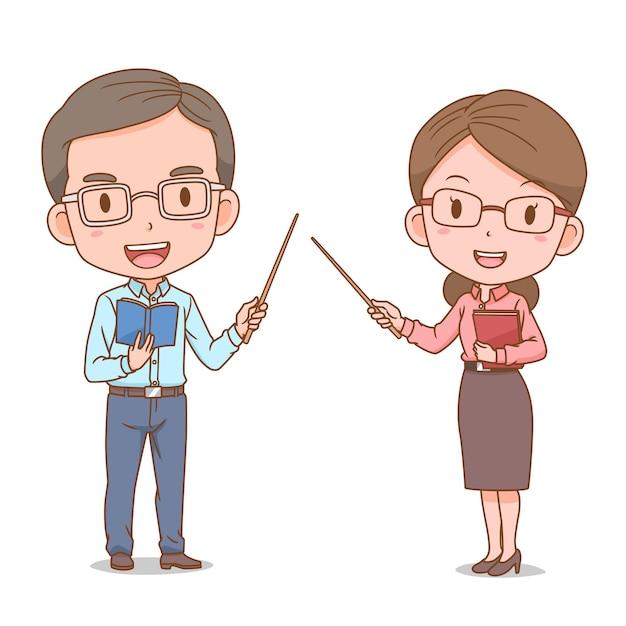 Leuk paar cartoon van leraren. Gratis Vector