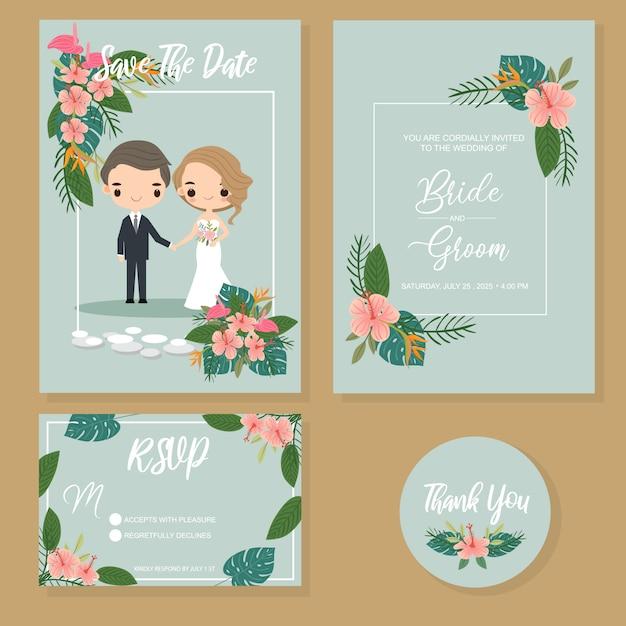 Leuk paar in tropische huwelijksuitnodigingen geplaatst Premium Vector