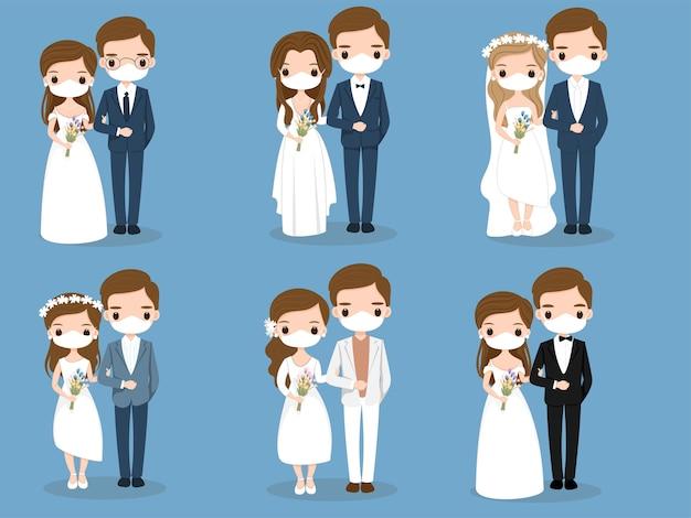 Leuk paar met gezichtsmaskerbeeldverhaal voor het ontwerp van de huwelijkskaart Premium Vector