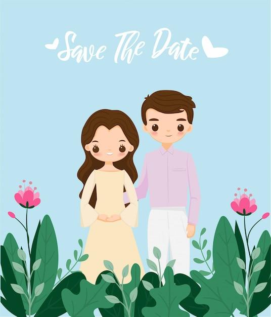 Leuk paar op bloem bruiloft uitnodiging kaartsjabloon Premium Vector