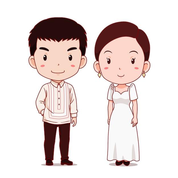 Leuk paar stripfiguren in traditionele klederdracht van de filipijnen. Premium Vector