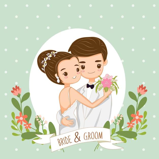 Leuk paar voor de kaart van huwelijksuitnodigingen Premium Vector