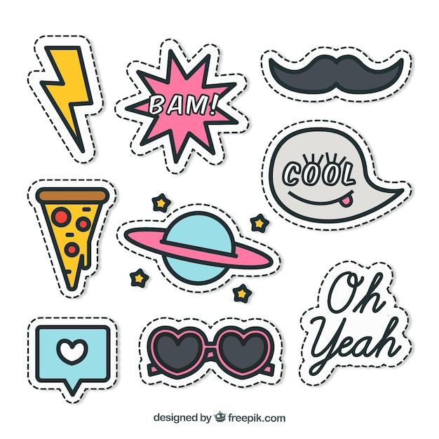 Leuk pakket stickers Gratis Vector