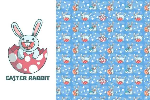 Leuk pasen-konijn naadloos patroon Premium Vector