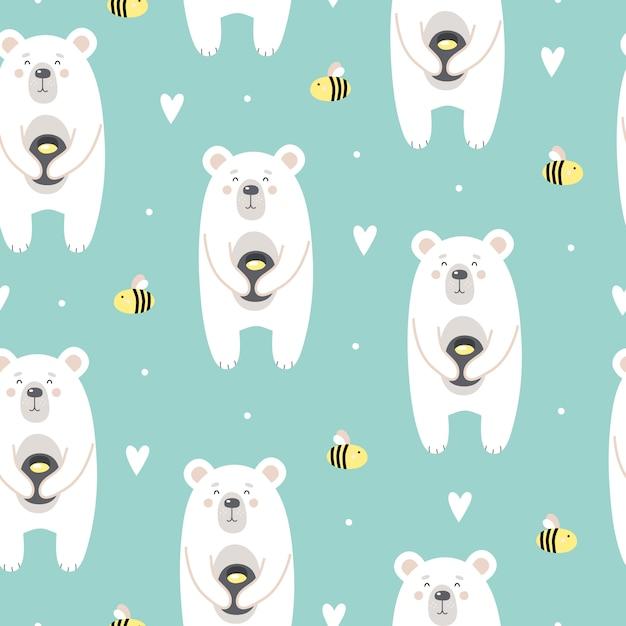 Leuk patroon met een beer met honing en bijen Premium Vector