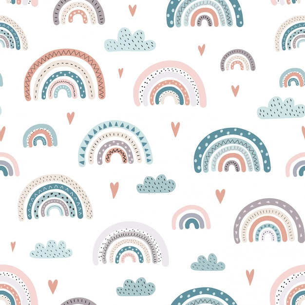 Leuk regenbogen en harten naadloos patroon. Premium Vector