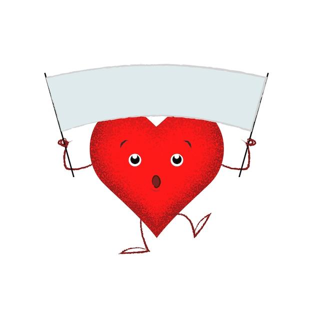 Leuk rood hart die lege banner houden Gratis Vector