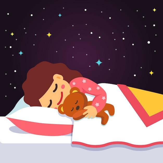 Leuk slaap en dromen meisje met teddybeer Gratis Vector