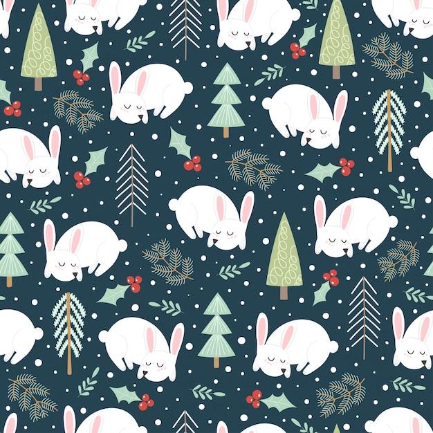 Leuk slapend konijn in het de winterbos. kerst naadloze patroon. vector illustratie Premium Vector