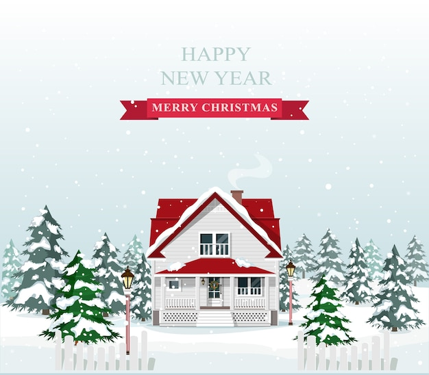 Leuk stijlvol europees huis ingericht voor kerstmis. vrolijk kerstlandschap. illustratie. Premium Vector