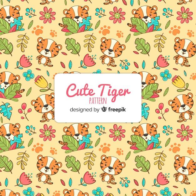 Leuk tijgerpatroon Gratis Vector