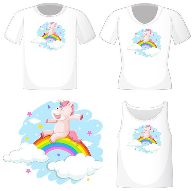 Leuk unicorn-logo op verschillende witte shirts geïsoleerd op een witte achtergrond Gratis Vector