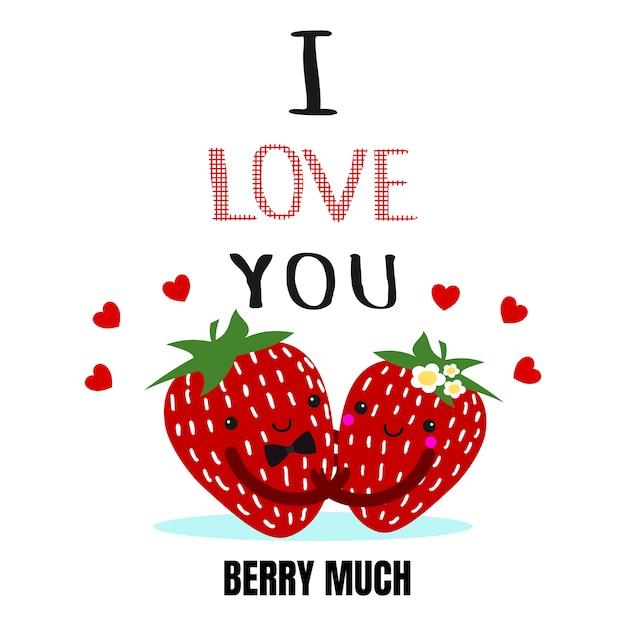 Leuk valentijnskaart stawberry paar Premium Vector