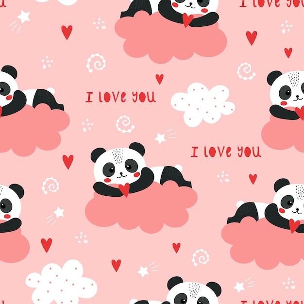 Leuk valentijnskaartenpatroon met panda. Premium Vector