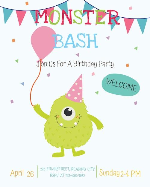 Leuk van de de partijuitnodiging van de monster gelukkig verjaardag de kaartontwerp. vector Premium Vector