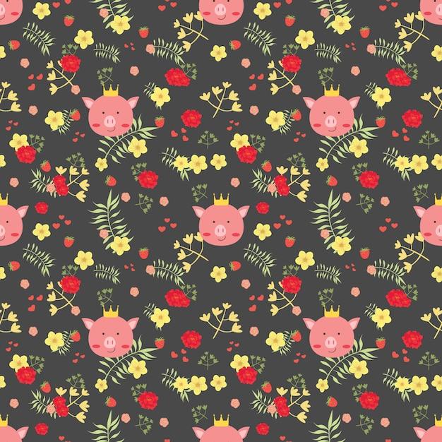 Leuk varken en bloem naadloos patroon. Premium Vector