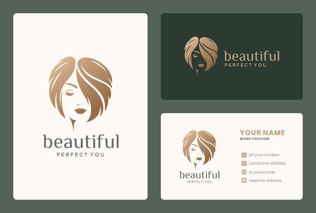 Leuk vrouwenembleem en visitekaartje voor make-over, herenkapper, schoonheidssalon. Premium Vector