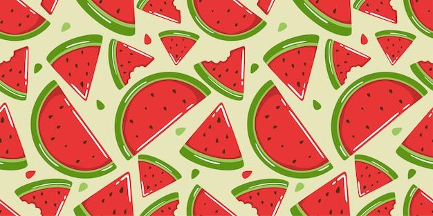 Leuk watermeloen naadloos patroon Premium Vector