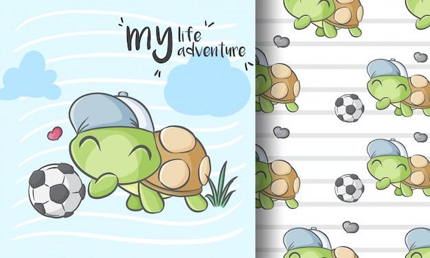 Leuk weinig kinderachtige illustratie van het schildpad naadloze patroon Premium Vector