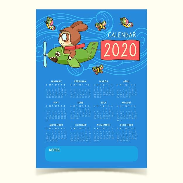 Leuke 2020 kalendersjabloon Gratis Vector