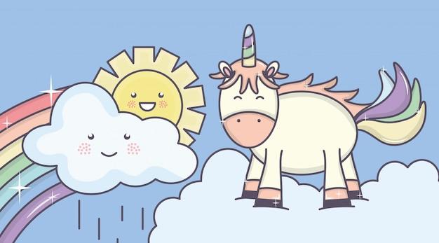 Leuke aanbiddelijke eenhoorn met zonnige wolken en regenboog Gratis Vector