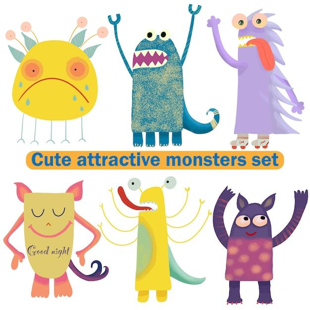 Leuke aantrekkelijke monsters ingesteld voor printontwerp. symbool collectie. leuke monstercollectie. gelukkige kinderen cartoon collectie. mensen icon set. handtekening. grappig stripfiguur. witte achtergrond Premium Vector
