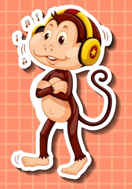 Leuke aap die aan muziek op hoofdtelefoon luistert Gratis Vector