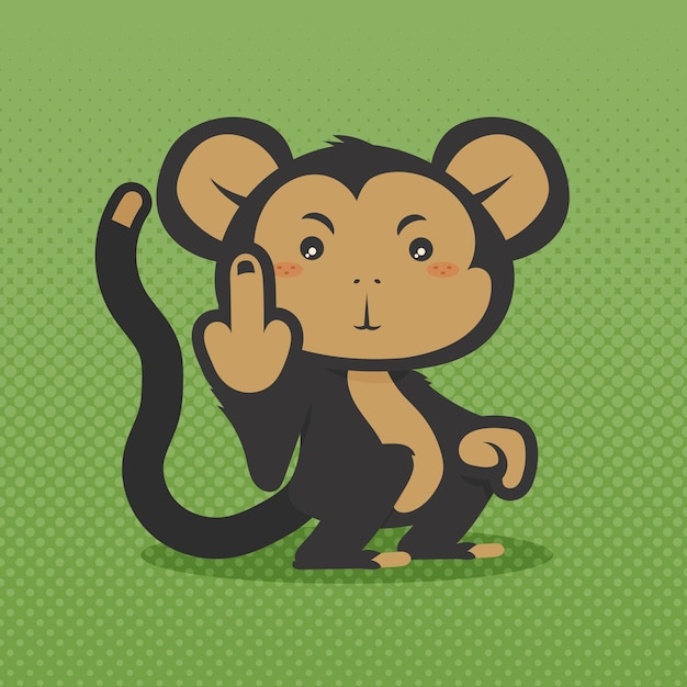 Leuke aap die het fuck you-symbool toont Gratis Vector