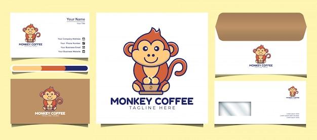 Leuke aap drinken koffie logo ontwerpsjabloon. ontwerp logo's, pictogrammen, enveloppen en visitekaartjes. Premium Vector