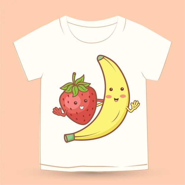 Leuke aardbei en banaan cartoon voor t-shirt Premium Vector