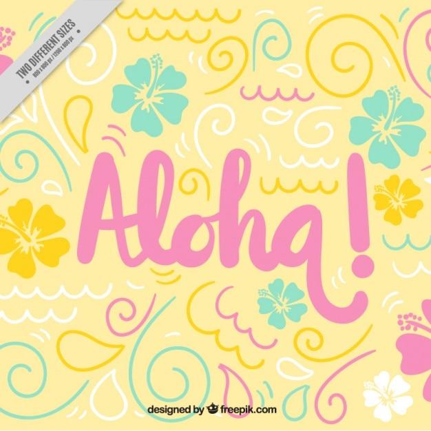 Leuke achtergrond aloha Gratis Vector