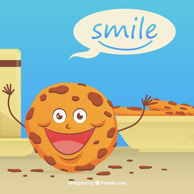 Leuke achtergrond met gelukkig koekje karakter Gratis Vector