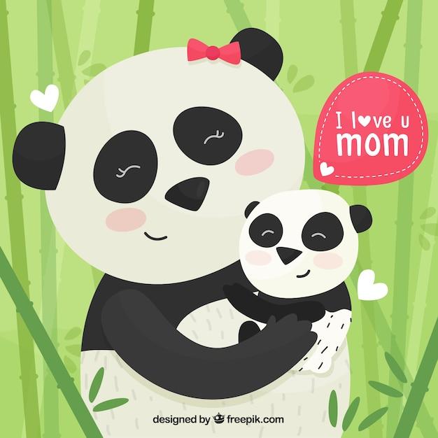 Leuke achtergrond met panda's voor moederdag Gratis Vector